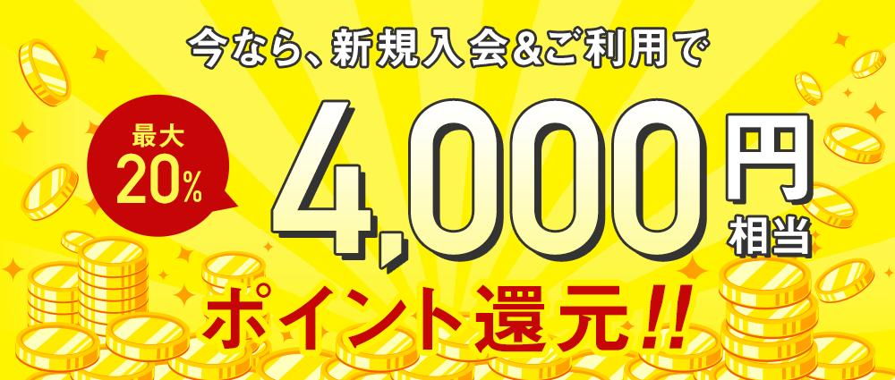 期間中ALL-Sカード新規ご入会&ご利用で、カード発行月の翌月末までにショッピング 2万円(税込)以上利用でALL-Sポイント 4,000ポイントをプレゼントいたします。
