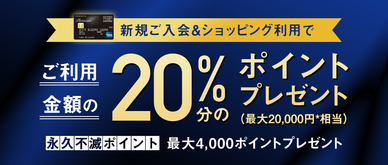 期間中、カード発行月から2か月間、カード利用の20%分のポイントをプレゼントいたします。